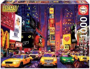 Los mejores puzzles fluorescentes que brillan en la oscuridad - Puzzle Neon Fluorescent de Times Square de 1000 piezas de Educa