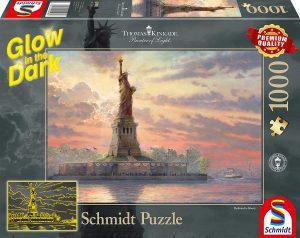 Los mejores puzzles fluorescentes que brillan en la oscuridad - Puzzle fluorescente de la Estatua de la Libertad de 1000 piezas de Schmidt