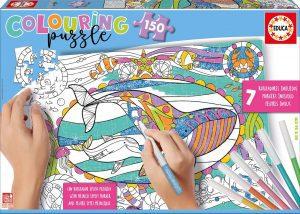 Los mejores puzzles para colorear - Puzzle de ballenas para colorear de 150 piezas de Educa