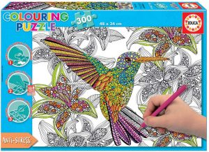 Los mejores puzzles para colorear - Puzzle de de colibrí para colorear de 300 piezas de Educa