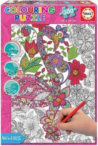 Los mejores puzzles para colorear - Puzzle de flamencos para colorear de 300 piezas de Educa