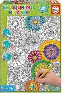 Los mejores puzzles para colorear - Puzzle de flores para colorear de 300 piezas de Educa