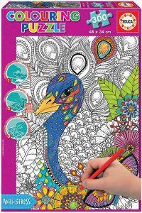 Los mejores puzzles para colorear - Puzzle de pavo real para colorear de 300 piezas de Educa