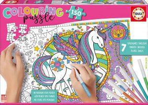 Los mejores puzzles para colorear - Puzzle de unicornios para colorear de 150 piezas de Educa