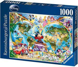 Los mejores puzzles de Disney - Puzzle de Mapamundi de Disney de 1000 piezas de Ravensburger - Personajes de Disney