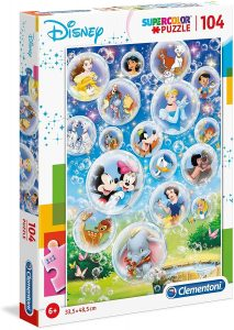 Los mejores puzzles de Disney - Puzzle de burbujas de personajes de Disney de 104 piezas de Clementoni - Personajes de Disney