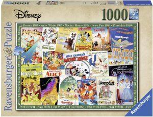 Los mejores puzzles de Disney - Puzzle de carteles clásicos de personajes de Disney de 1000 piezas de Ravensburger - Personajes de Disney