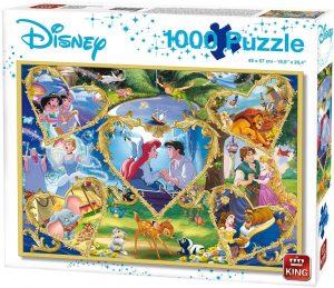 Los mejores puzzles de Disney - Puzzle de corazones de Disney de 1000 piezas de King - Personajes de Disney