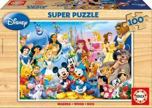 Los mejores puzzles de Disney - Puzzle del Maravilloso Mundo de Disney de 100 piezas de Educa - Personajes de Disney