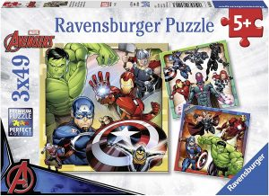 Los mejores puzzles de Marvel - Puzzle de héroes de Marvel de 3x49 de Ravensburger - Puzzles de personajes de Marvel