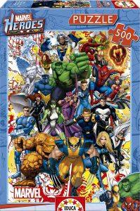 Los mejores puzzles de Marvel - Puzzle de héroes de Marvel de 500 piezas de Educa - Puzzles de personajes de Marvel
