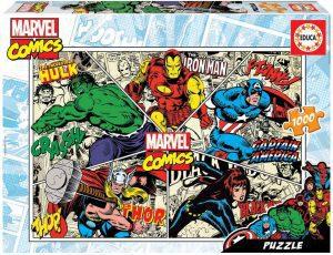 Los mejores puzzles de Marvel - Puzzle de héroes de Marvel del Cómics de 1000 piezas de Educa - Puzzles de personajes de Marvel