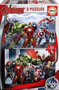 Los mejores puzzles de Marvel - Puzzle de los Vengadores de 2x100 piezas de Ravensburger - Puzzles de personajes de Marvel