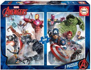 Los mejores puzzles de Marvel - Puzzle de los Vengadores de 2x500 piezas de Educa - Puzzles de personajes de Marvel