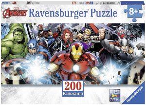 Los mejores puzzles de Marvel - Puzzle de panorama de los Vengadores de 200 piezas de Ravensburger - Puzzles de personajes de Marvel