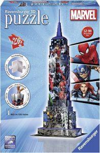 Los mejores puzzles de Marvel - Puzzle del Empire State Building en 3D de Marvel de 216 piezas - Puzzles de personajes de Marvel