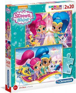 Los mejores puzzles de Shimmer y Shine - Puzzle de Shimmer y Shine de 2x20 piezas de Clementoni