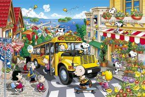 Los mejores puzzles de Snoopy de Peanuts - Puzzle de autobus escolar de Snoopy de 1000 piezas de Epoch