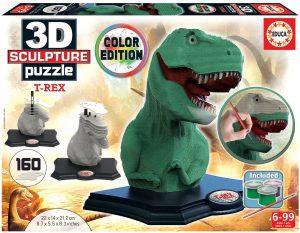 Los mejores puzzles de T-Rex - Puzzle de Tiranosaurio Rex en 3D color edition de 160 piezas de Educa
