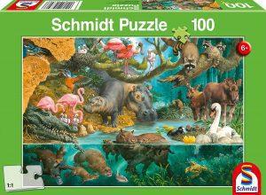 Los mejores puzzles de animales - Puzzles de animales salvajes de 100 piezas de Schmidt