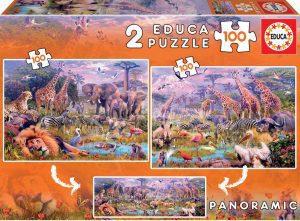 Los mejores puzzles de animales - Puzzles de animales salvajes panorama de 100 piezas de Educa