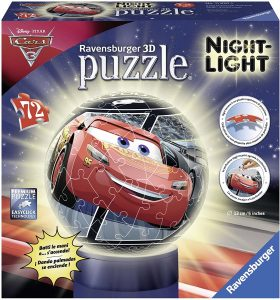 Los mejores puzzles de lámparas nocturnas en 3D de Ravensburger - Puzzle de lámpara nocturna de Cars 3 de 72 piezas de Ravensburger