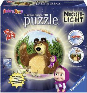 Los mejores puzzles de lámparas nocturnas en 3D de Ravensburger - Puzzle de lámpara nocturna de Masha y el Oso de 72 piezas de Ravensburger