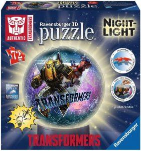 Los mejores puzzles de lámparas nocturnas en 3D de Ravensburger - Puzzle de lámpara nocturna de Transformers de 72 piezas de Ravensburger