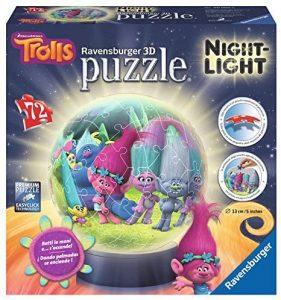 Los mejores puzzles de lámparas nocturnas en 3D de Ravensburger - Puzzle de lámpara nocturna de Trolls de 72 piezas de Ravensburger