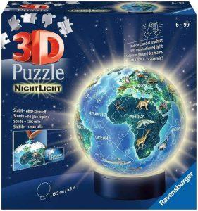 Los mejores puzzles de lámparas nocturnas en 3D de Ravensburger - Puzzle de lámpara nocturna de la Tierra de 72 piezas de Ravensburger