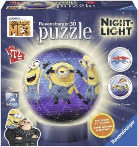 Los mejores puzzles de lámparas nocturnas en 3D de Ravensburger - Puzzle de lámpara nocturna de los Minions 3 de 72 piezas de Ravensburger