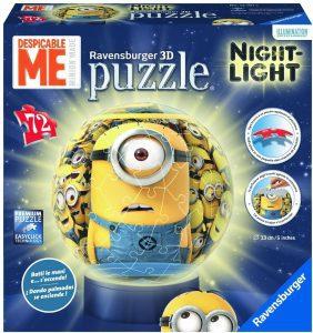 Los mejores puzzles de lámparas nocturnas en 3D de Ravensburger - Puzzle de lámpara nocturna de los Minions de 72 piezas de Ravensburger
