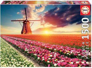 Los mejores puzzles de tulipanes - Puzzle de molino con tulipanes holandeses de 1500 piezas de Educa