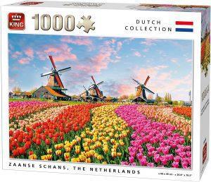 Los mejores puzzles de tulipanes - Puzzle de tulipanes en Holanda de 1000 piezas de King