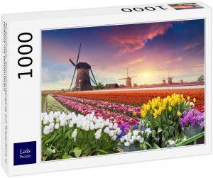 Los mejores puzzles de tulipanes - Puzzle de tulipanes en Holanda de 1000 piezas de Lais
