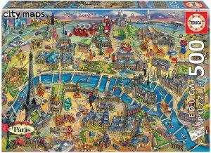 Los mejores puzzles del Arco del Triunfo - Puzzle de mapa de París de 500 piezas de Educa