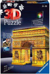 Los mejores puzzles del Arco del Triunfo - Puzzle del Arco del Triunfo de noche en 3D de 216 piezas de Ravensburger