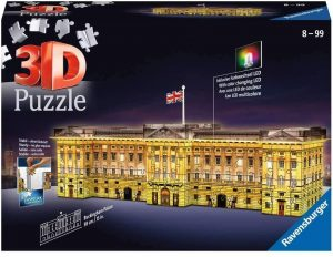 Los mejores puzzles del Buckingham Palace en 3D de Londres - Puzzle del Palacio de Buckingham en 3D de noche de 216 piezas de Ravensburger