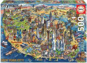 Los mejores puzzles del Empire State Building de Nueva York - Puzzle de mapa de Nueva York del Empire State Building de 500 piezas de Educa
