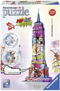 Los mejores puzzles del Empire State Building en 3D de Nueva York - Puzzle del Empire State Building POP Art en 3D de 216 piezas de Ravensburger