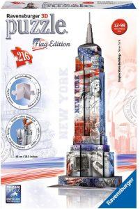 Los mejores puzzles del Empire State Building en 3D de Nueva York - Puzzle del Empire State Building de Flag Edition en 3D de 216 piezas de Ravensburger