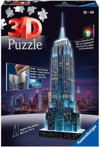 Los mejores puzzles del Empire State Building en 3D de Nueva York - Puzzle del Empire State Building de noche en 3D de 216 piezas de Ravensburger