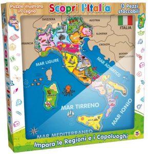 Los mejores puzzles del Mapa de Italia - Puzzle de mapa de Italia de 13 piezas de Teorema