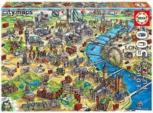 Los mejores puzzles del Palacio de Buckingham - Puzzle de mapa de Londres de 500 piezas de Educa