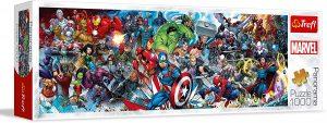 Puzzle de panorama de Marvel de 1000 piezas - Los mejores puzzles de Marvel