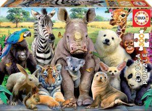 Puzzle de selfie de animales de 300 piezas de Educa - Los mejores puzzles de animales
