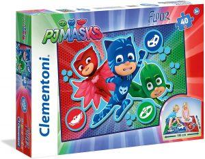 Puzzle de Pj Masks de suelo de 40 piezas de Clementoni - Los mejores puzzles de Pj Masks de dibujos animados