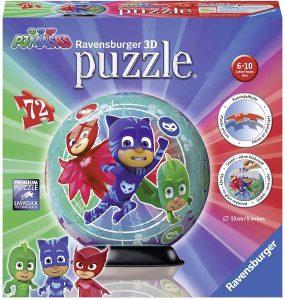 Puzzle de pelota de Pj Masks de 72 piezas en 3D de Ravensburger - Los mejores puzzles de Pj Masks de dibujos animados