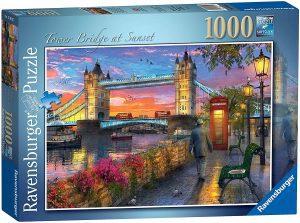 Puzzle del Puente de Londres al atardecer de 1000 piezas de Ravensburger - Los mejores puzzles de Tower Bridge - Puzzles del Puente de Londres