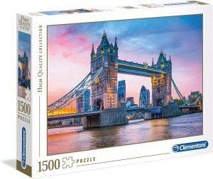 Puzzle del Puente de Londres de noche de 1500 piezas de Clementoni - Los mejores puzzles de Tower Bridge - Puzzles del Puente de Londres